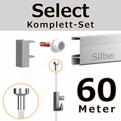 Bilderschienen Set 60 m in SILBER - Select - Bilderschiene inklusive Zubehör