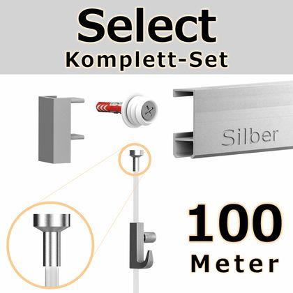 Bilderschienen Set 100 m in SILBER - Select - Bilderschiene inklusive Zubehör