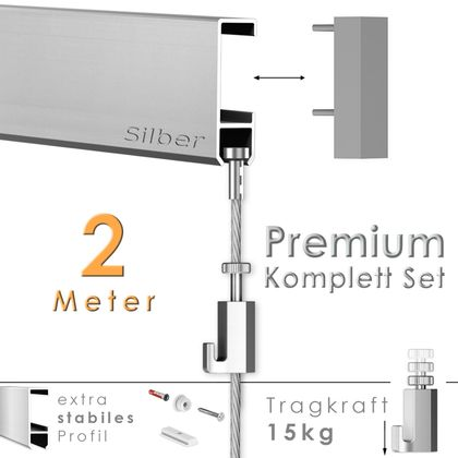 """Galerieschienen Set 2 m in Silber """"Robust"""" - Premium Galerieschiene inklusive Zubehör – Bild 1"""