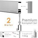 """Galerieschienen Set 2 m in Silber """"Robust"""" - Premium Galerieschiene inklusive Zubehör 001"""