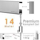 """Galerieschienen Set 14 m in Silber """"Robust"""" - Premium Galerieschiene inklusive Zubehör 001"""