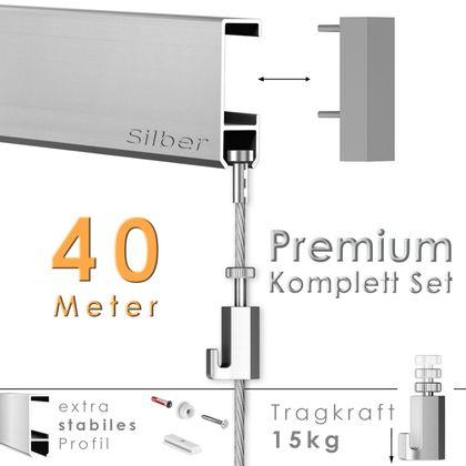Galerieschienen Set 40 m in Silber - Premium Galerieschiene inklusive Zubehör