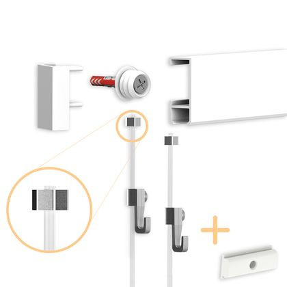 Picture Rail Set - White - 1 Metre - Complete Set incl. Picture Cords and Picture Hooks - Gallery Rail Set by hang-it