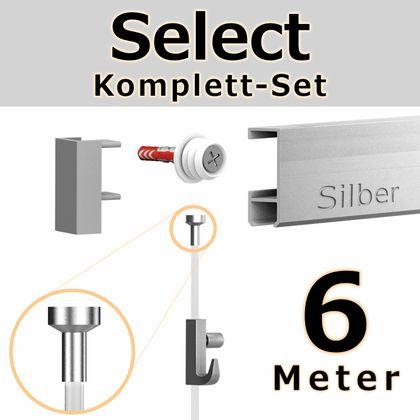 Bilderschienen Set 6 m in SILBER - Select - Bilderschiene inklusive Zubehör – Bild 1