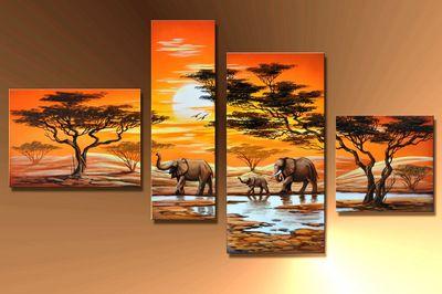 Elefant Afrika M6 - Leinwandbild 4 teilig 120x70cm Handgemalt – Bild 3