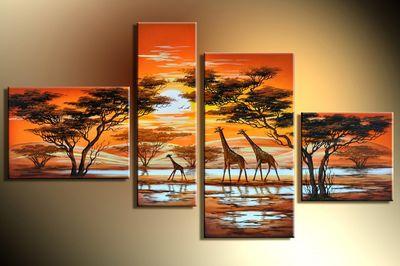 Giraffe Afrika M3 - Leinwandbild 4 teilig 120x70cm Handgemalt