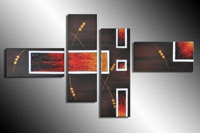 Abstrakt M2 - Leinwandbild 4 teilig 120x70cm Handgemalt – Bild 3