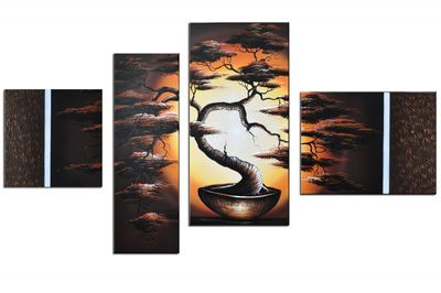 Baum M1 - Leinwandbild 4 teilig 120x70cm Handgemalt – Bild 2