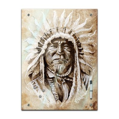 Memoboard - Männermotive - Indianer Tattoo Art – Bild 2