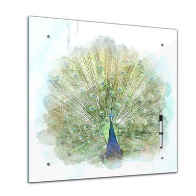 Memoboard - Aquarelle - Pfau - 40x40 cm – Bild 1