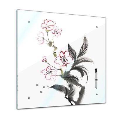 Memoboard - Aquarelle - Chinesische Blume - 40x40 cm – Bild 1