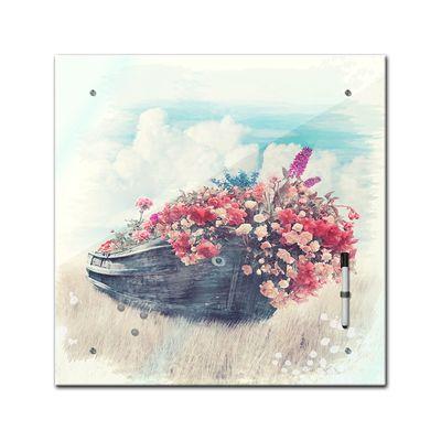 Memoboard - Aquarelle - Altes Boot mit Blumen  - 40x40 cm – Bild 2