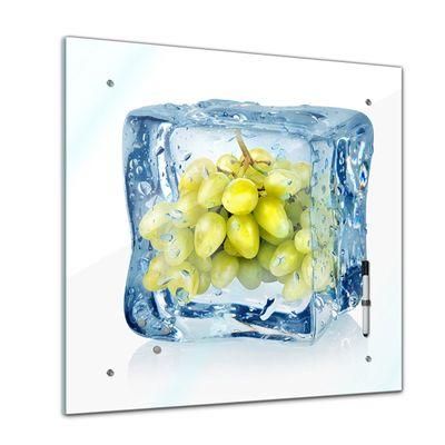 Memoboard - Essen & Trinken - Eiswürfel grüne Weintrauben - 40x40 cm – Bild 1