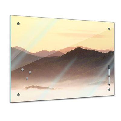 Memoboard - Landschaft - Nebliges Tal und Berge im Sonnenuntergang, USA – Bild 1