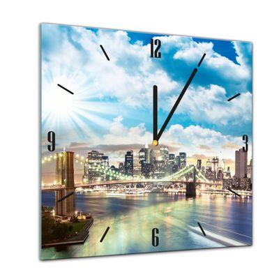 Glasuhr - Städte, Seen & Landschaften - New York City  - 40x40cm – Bild 1