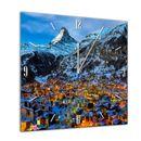 Glasuhr - Städte, Seen & Landschaften - Zermatt am Matterhorn - Schweiz - 40x40cm 001