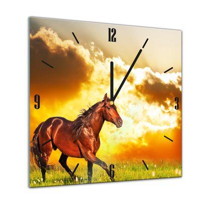 Glasuhr - Tiere - Pferd auf einer Wiese - 40x40cm – Bild 1