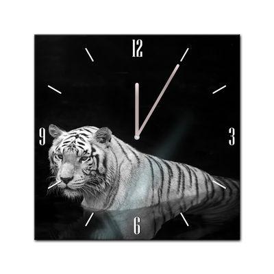Glasuhr - Tiere - Tiger im Wasser - 40x40cm – Bild 2
