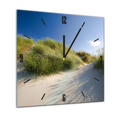 Glasuhr - Sonne, Strand und Meer - Dünengräser - 40x40cm