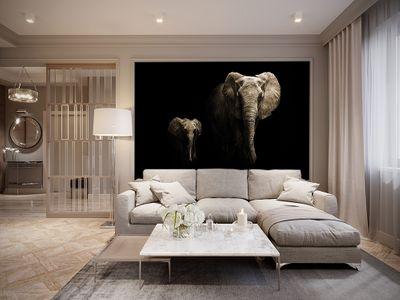 Fototapete - Elefanten schwarz weiß – Bild 3