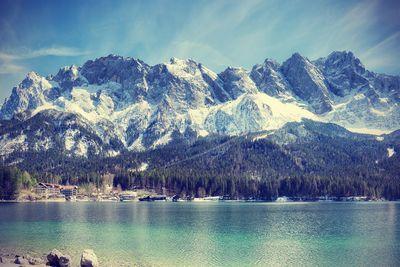 Fototapete - Zugspitzmassiv in den Alpen – Bild 4