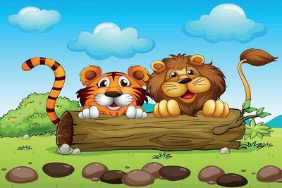 selbstklebende Fototapete - Kinderbild - Löwe und Tiger Freundschaft – Bild 2