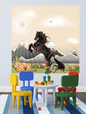 selbstklebende Fototapete - Kinderbild - Pferd - schwarzer Hengst – Bild 3