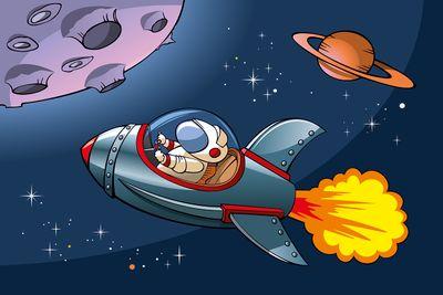 selbstklebende Fototapete - Kinderbild - Rakete im Weltraum – Bild 2