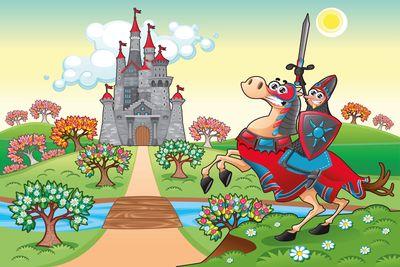 selbstklebende Fototapete - Kinderbild - Ritter vor einer Burg – Bild 2