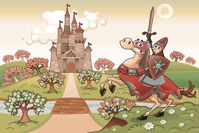 selbstklebende Fototapete - Kinderbild - Ritter vor einer Burg – Bild 4
