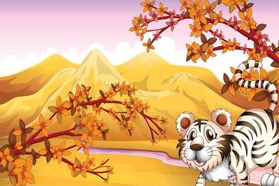 selbstklebende Fototapete - Kinderbild - Tiere Cartoon VIII - Weißer Tiger – Bild 2