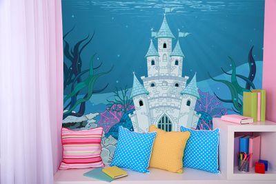 selbstklebende Fototapete - Kinderbild - Unterwasserschloss Cartoon