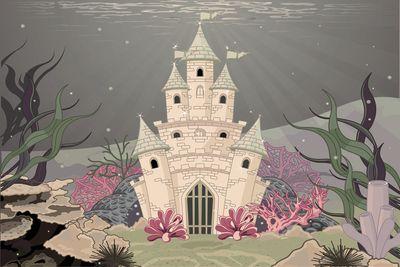 selbstklebende Fototapete - Kinderbild - Unterwasserschloss Cartoon – Bild 4
