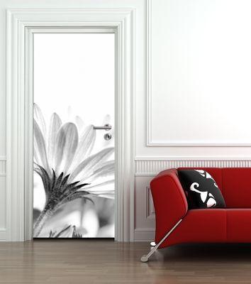 Türaufkleber - Blume - schwarz weiß – Bild 1
