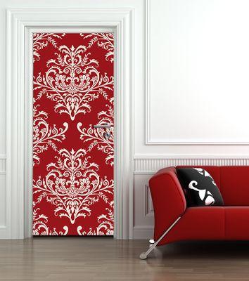 Türaufkleber - Barockes rotes Muster
