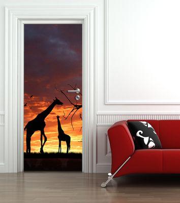 Türaufkleber - Giraffen im Sonnenuntergang – Bild 1