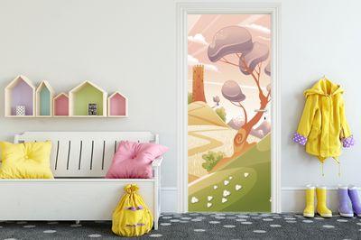 Türaufkleber - Kinderbild Phantasielandschaft  – Bild 1
