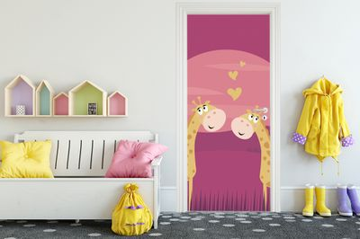 Türaufkleber - Kinderbild verliebte Giraffen – Bild 1