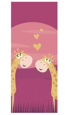 Türaufkleber - Kinderbild verliebte Giraffen – Bild 2