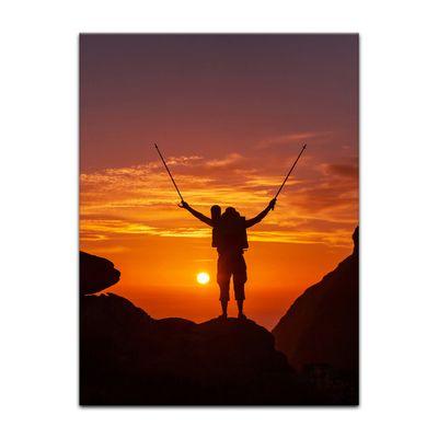 Leinwandbild - Wanderer im Sonnenuntergang III – Bild 3