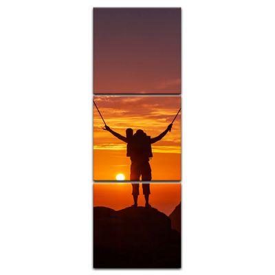 Leinwandbild - Wanderer im Sonnenuntergang III – Bild 5