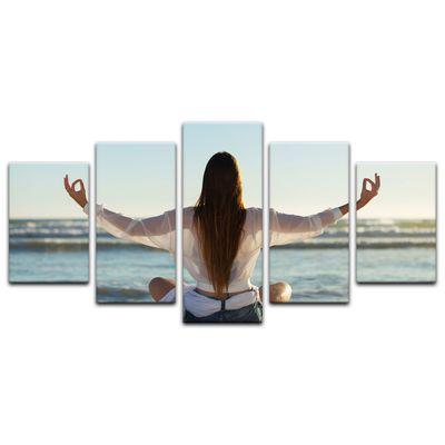 Leinwandbild - Yoga am Strand III – Bild 8