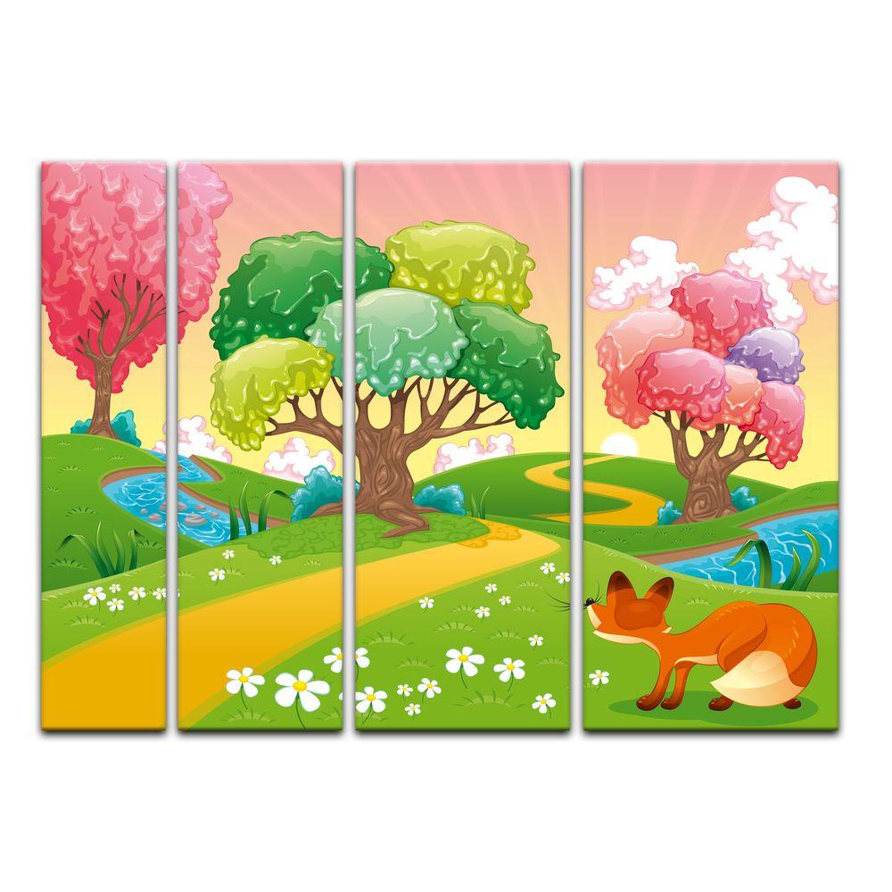 Leinwandbild Kunst-Druck 120x60 Bilder Landschaften Wald Sonne