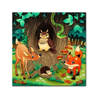 Kunstdruck - Kinderbild - Waldtiere III Cartoon - Waldgeschichten bei Frau Eule – Bild 4
