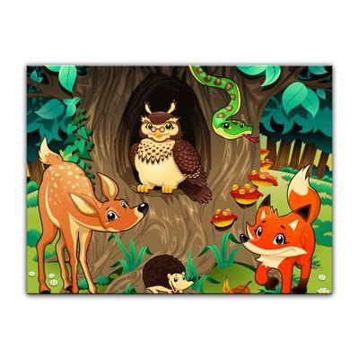 Kunstdruck - Kinderbild - Waldtiere III Cartoon - Waldgeschichten bei Frau Eule – Bild 5