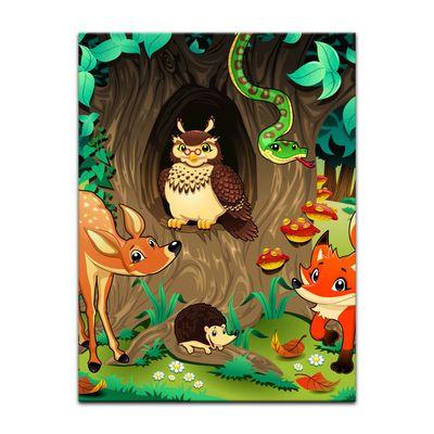 Kunstdruck - Kinderbild - Waldtiere III Cartoon - Waldgeschichten bei Frau Eule – Bild 2