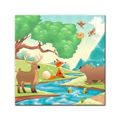 Kunstdruck - Kinderbild - Waldtiere II Cartoon - Fuchs, Elch und Bär – Bild 7