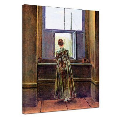 Leinwandbild - Alte Meister - Caspar David Friedrich - Frau am Fenster – Bild 1
