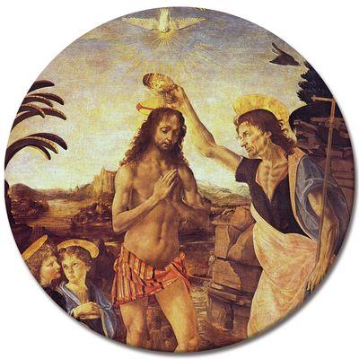 Leinwandbild - Alte Meister - Leonardo da Vinci und Andrea del Verrocchio - Taufe Christi – Bild 3