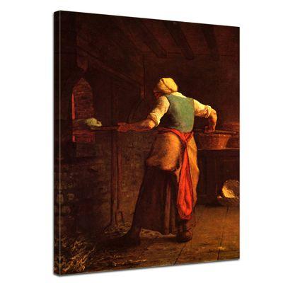 Leinwandbild - Alte Meister - Jean-François Millet - Frau beim Brotbacken – Bild 1